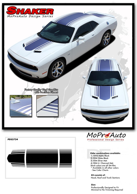 2015-2017 Dodge Challenger Shaker Hood Roof Stripes Decals Vinyl Graphics