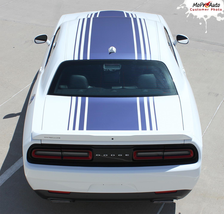 Dodge Challenger Shaker Hood Roof Strobe Factory OEM Style Stripes 2015, 2016, 2017, 2018, 2019, 2020 Decals Vinyl Graphic