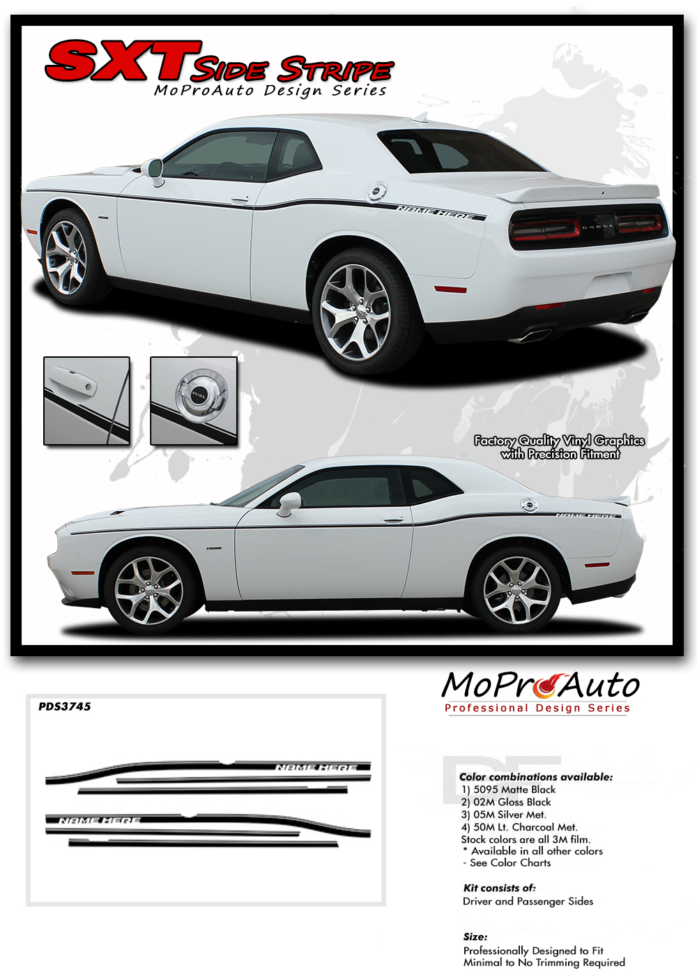 Dodge Challenger SXT Side Stripes Decals Vinyl Graphics