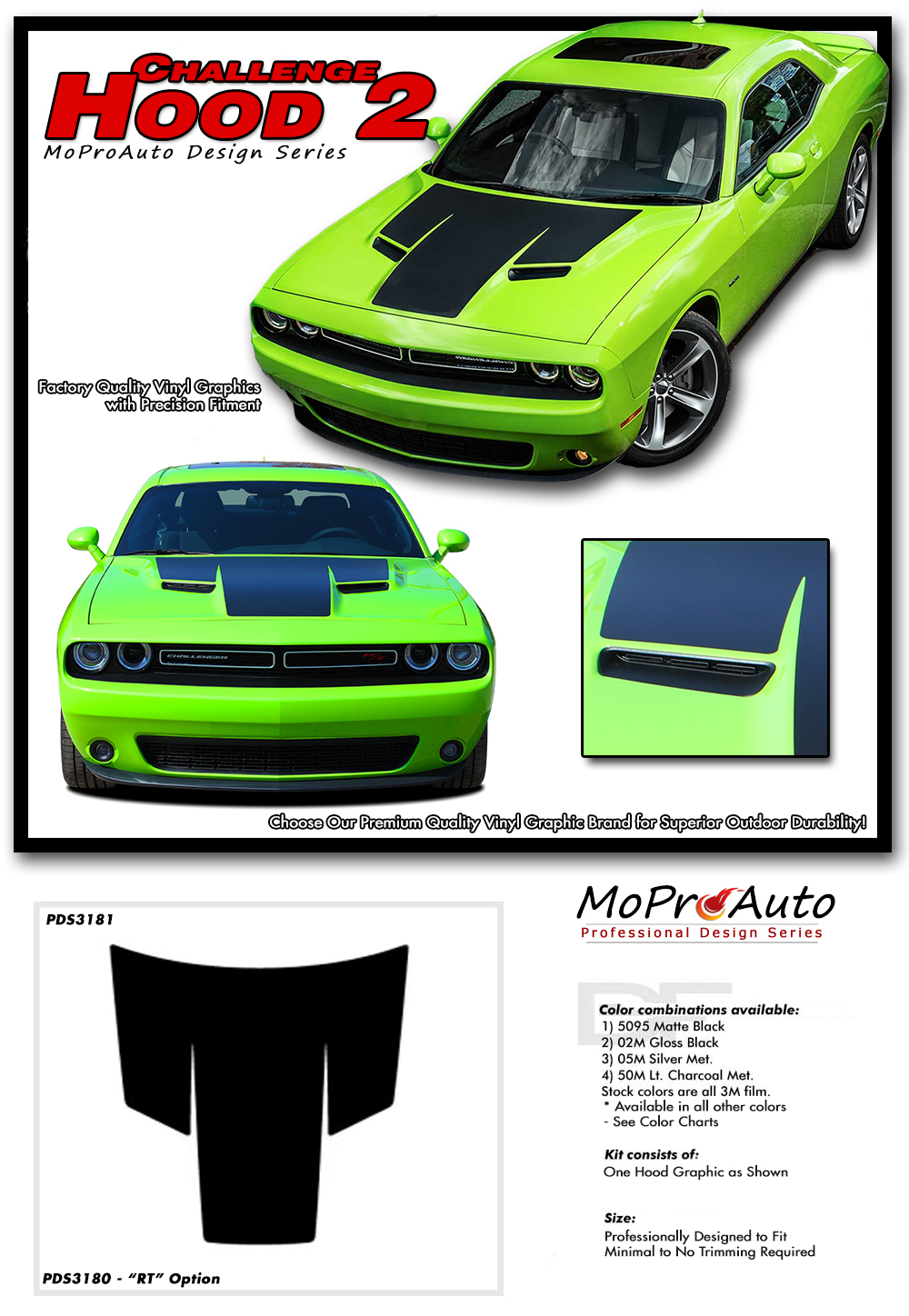 2015 2016 2017 2018 dodge challenger hood vinyl graphics stripes and decals set