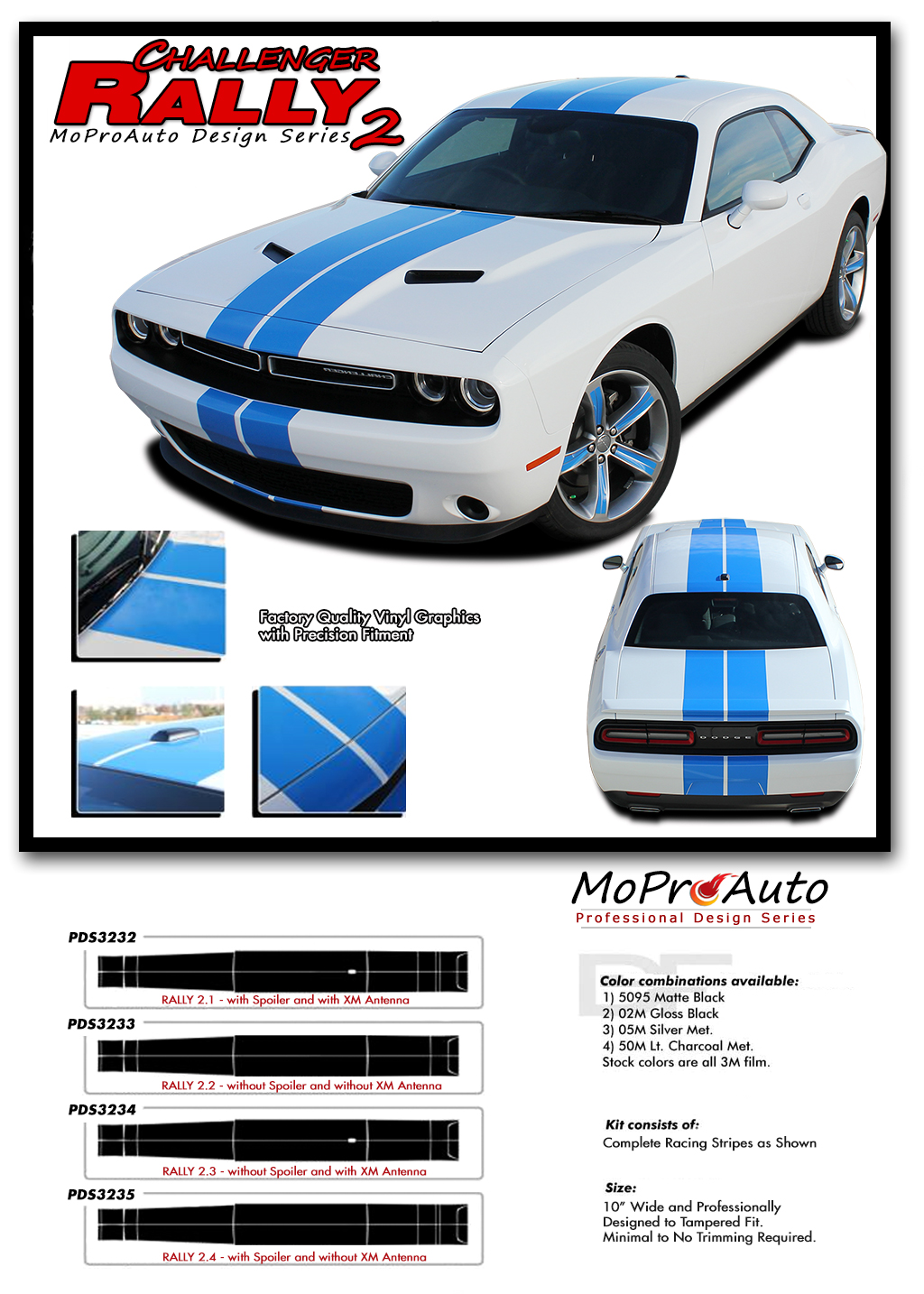 Decal Kits Product : Challenger rally racing stripes vinyl graphic