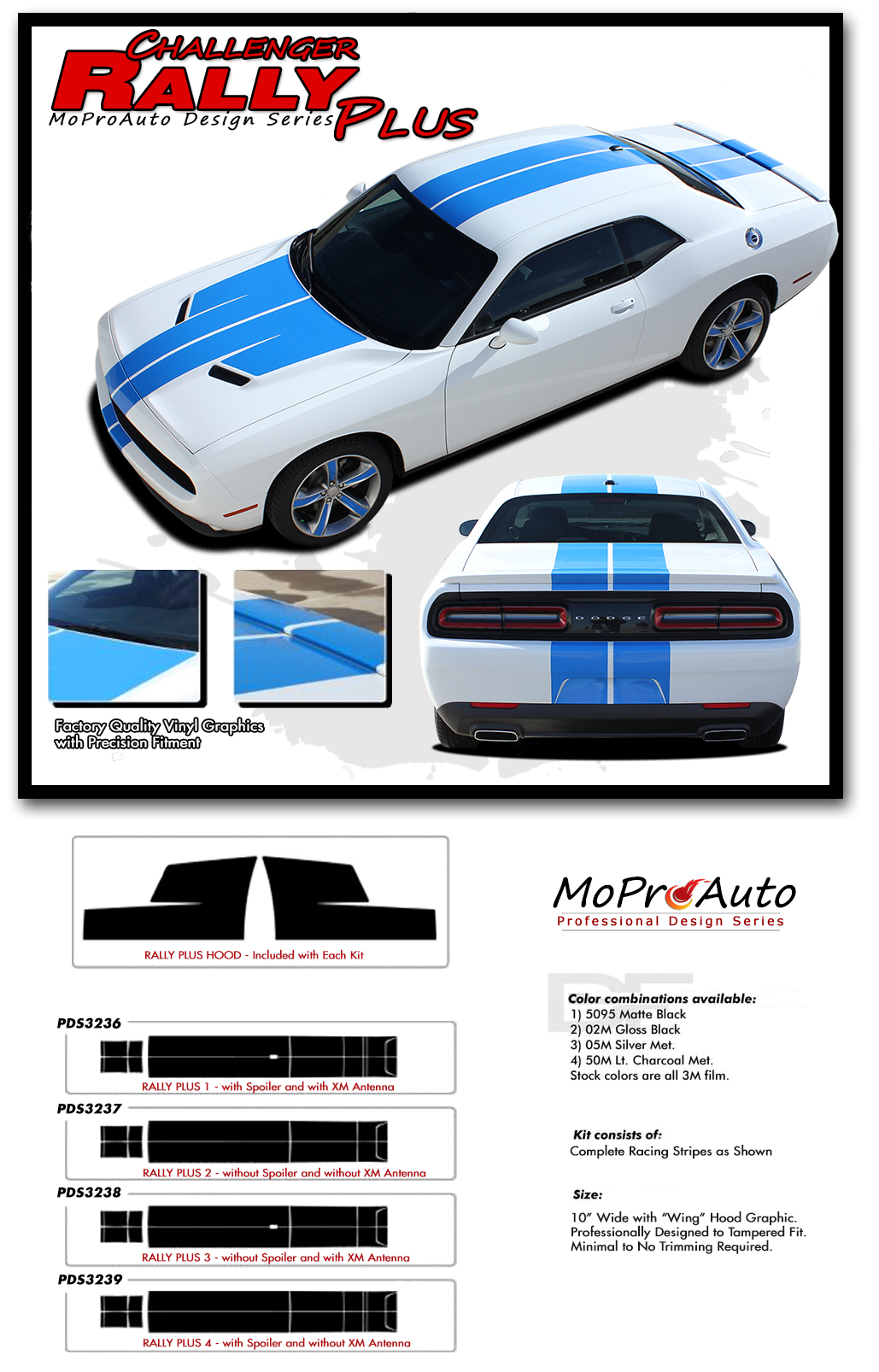 2015 2016 2017 2018 dodge challenger rally plus vinyl graphics stripes and decals set