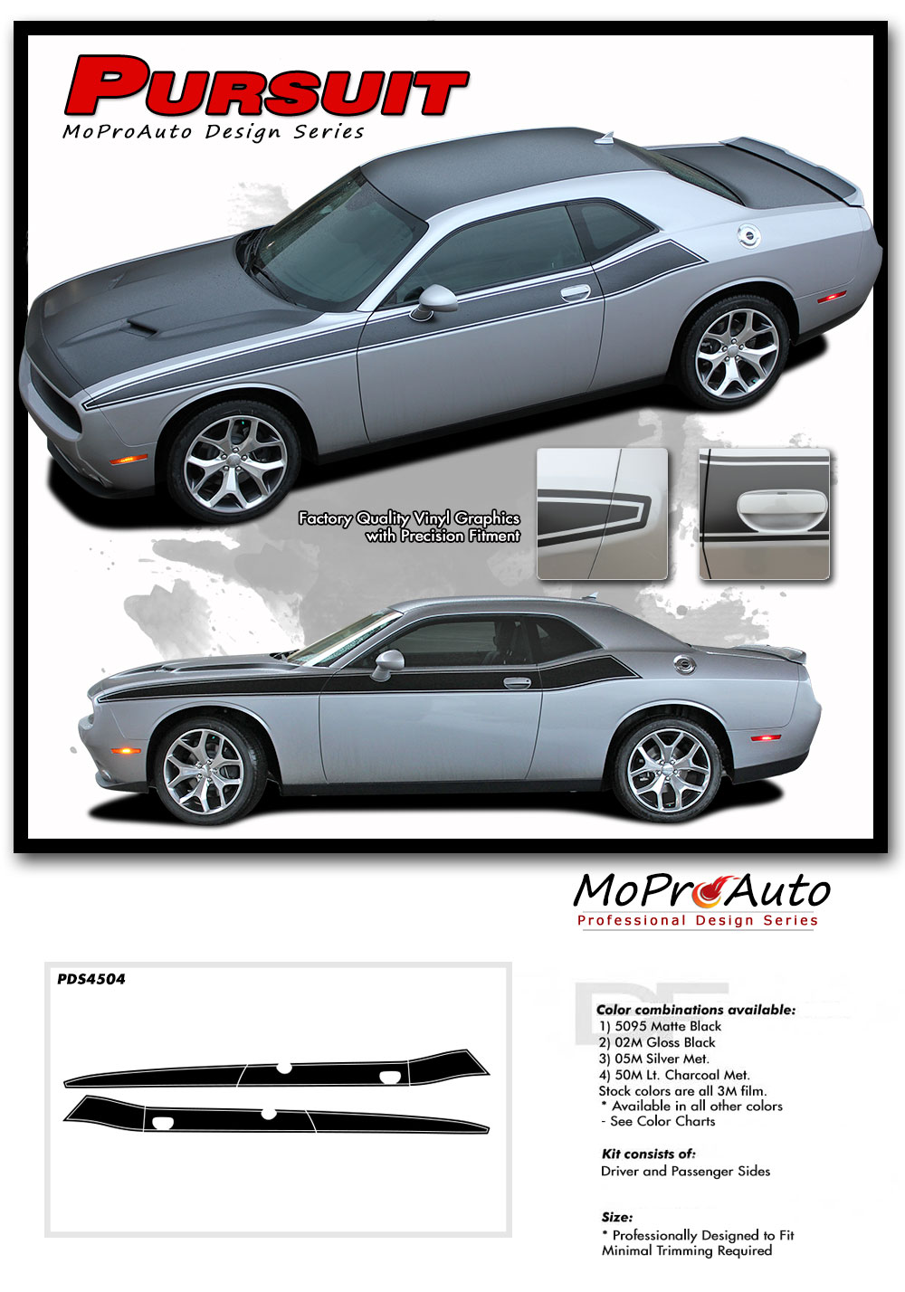 2011-2018 Dodge Challenger PURSUIT T/A 392 Side Stripes Decals Vinyl Graphics