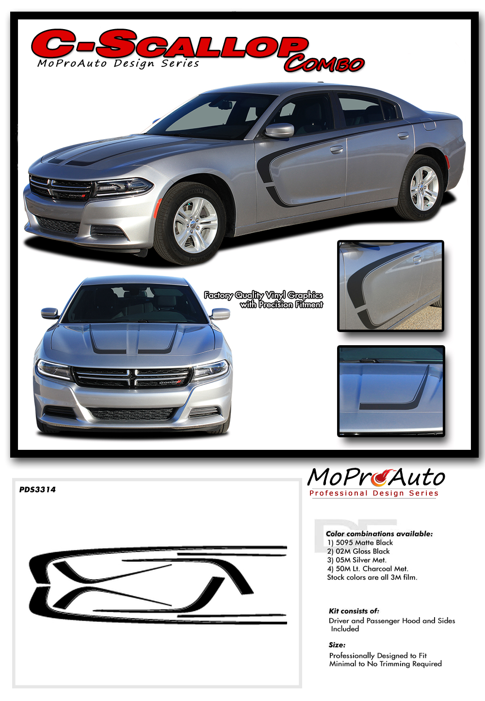 Scallop Combo 15 Dodge Charger C Hood Decals And Side