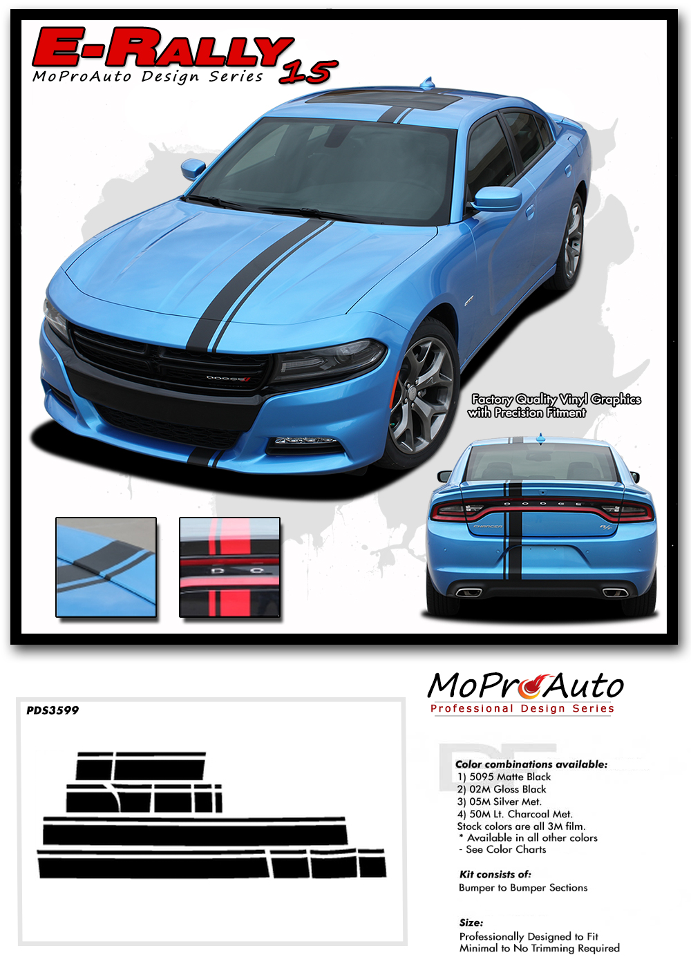 2015 2016 2017 2018 EURO RALLY Dodge Charger E RALLY STRIPE Vinyl Graphics, Stripes and Decals Set