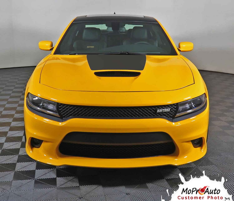 2015, 2016, 2017, 2018, 2019, 2020 SINISTER AIR HOOD : Dodge Charger Daytona Hemi SRT 392 Style Center Hood Vinyl Graphic Decals and Stripe Kit