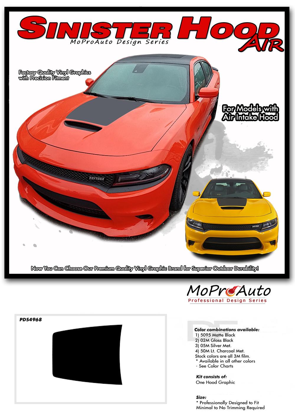 2015, 2016, 2017, 2018, 2019, 2020 SINISTER HOOD : Dodge Charger Daytona Hemi SRT 392 Style Center Air Hood Vinyl Graphic Decals and Stripe Kit