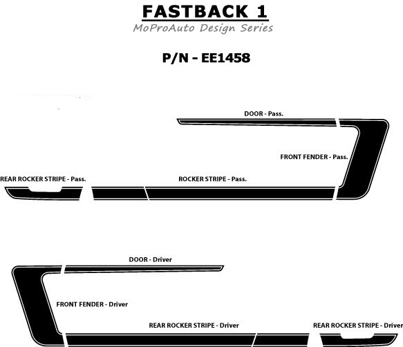 FASTBACK 1 Ford Mustang - MoProAuto Pro Design Series Vinyl Graphics and Decals Kit