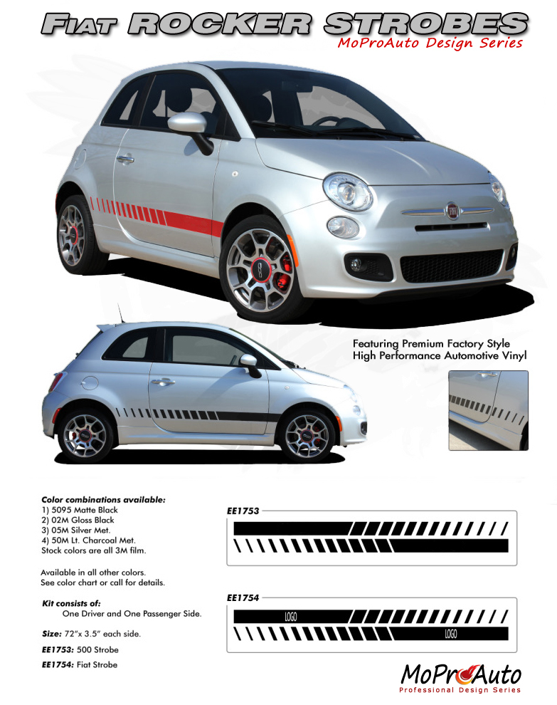 FIAT 500 Vinyl Graphics, Stripes and Decals Set