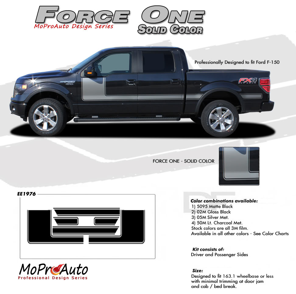 Force One Solid Ford F-Series F-150 Hockey Stick Appearance Package Vinyl Graphics and Decals Kit by MoProAuto Pro Design Series