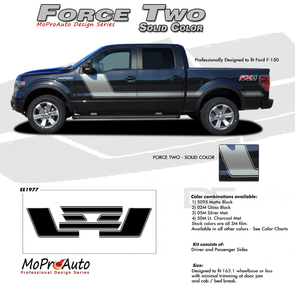Force Two Solid Ford F-Series F-150 Hockey Stick Appearance Package Vinyl Graphics and Decals Kit by MoProAuto Pro Design Series