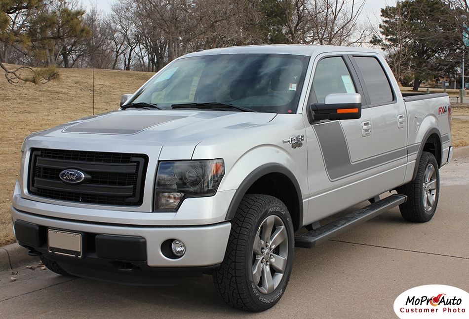 Force Two Ford F-Series F-150 Hockey Stick Appearance Package Vinyl Graphics and Decals Kit by MoProAuto Pro Design Series