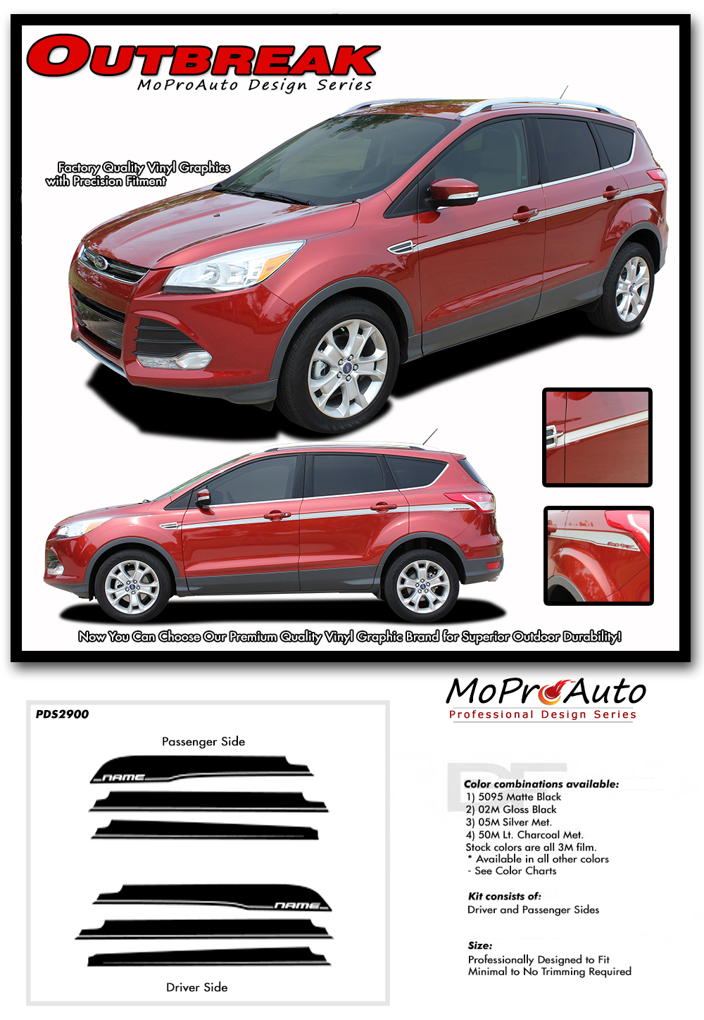 Outbreak Ford Escape Door Stripes Body Line Vinyl Graphics Decals Kit For 2013 2019 Models Moproauto Professional Vinyl Graphics And Striping