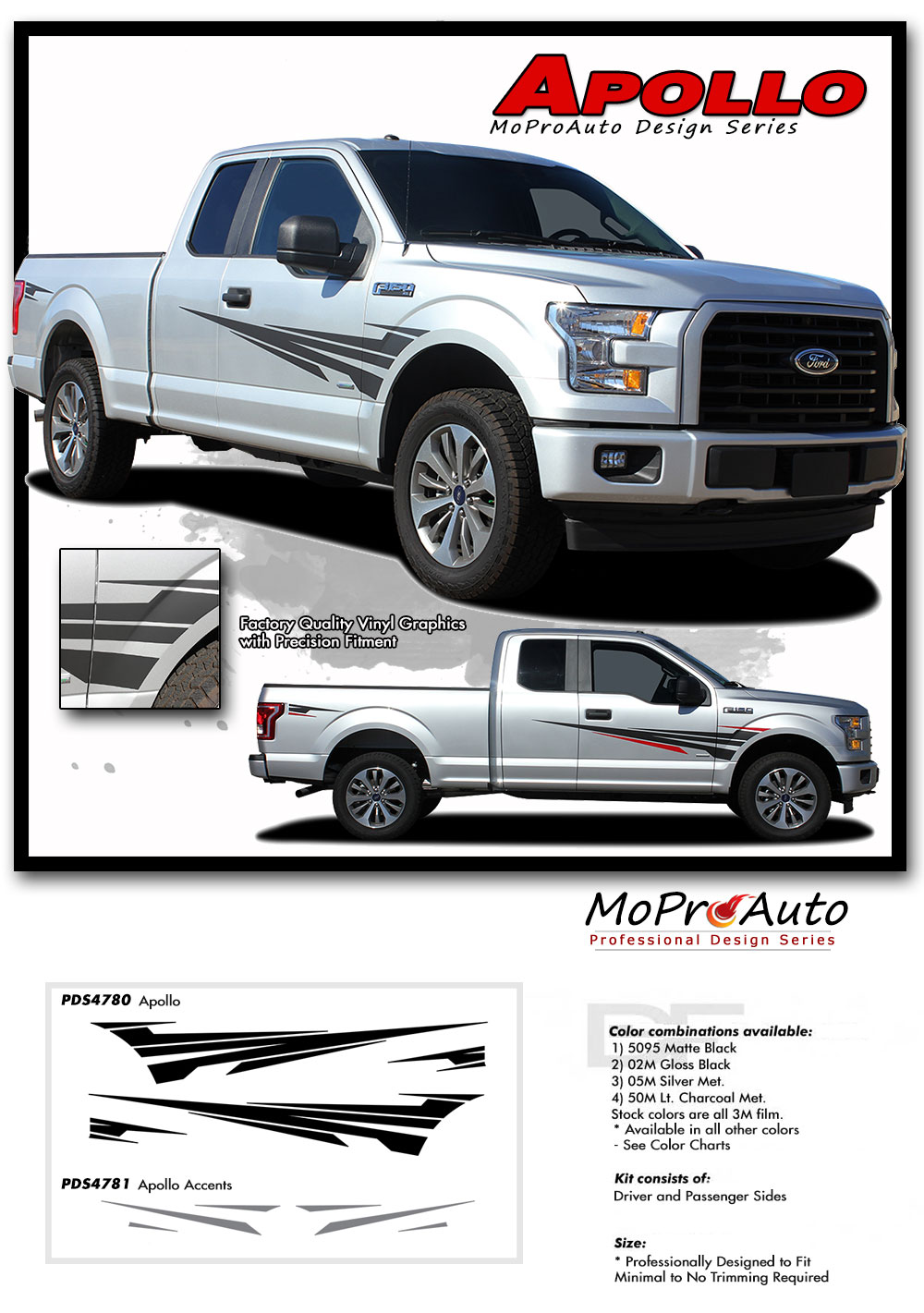 2015 2016 2017 2018 Apollo Door Stripes Ford F-Series F-150 Appearance Package Vinyl Graphics and Decals Kit by MoProAuto Pro Design Series