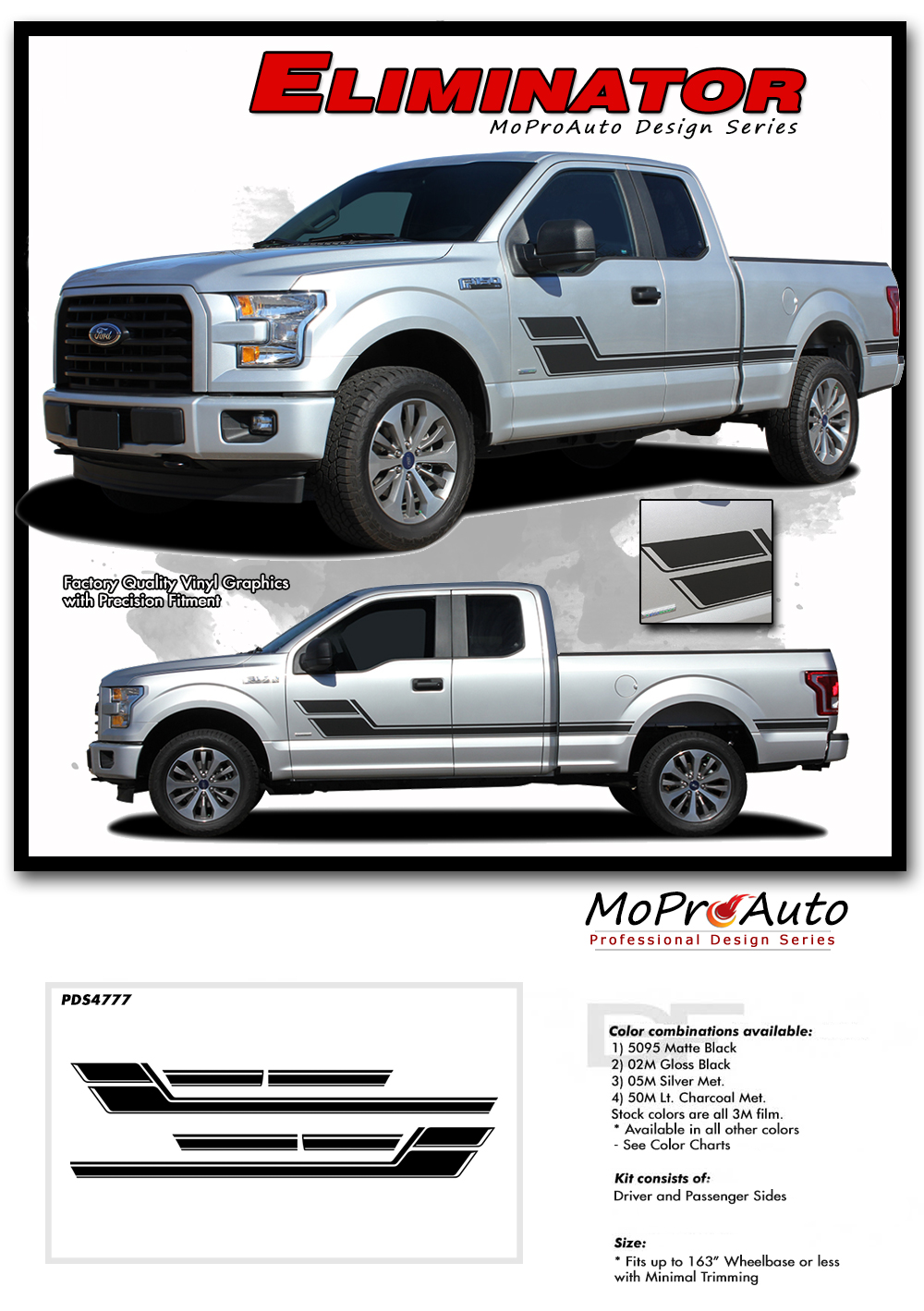 2015 2016 2017 2018 ELIMINATOR Door Stripes Ford F-Series F-150 Appearance Package Vinyl Graphics and Decals Kit by MoProAuto Pro Design Series