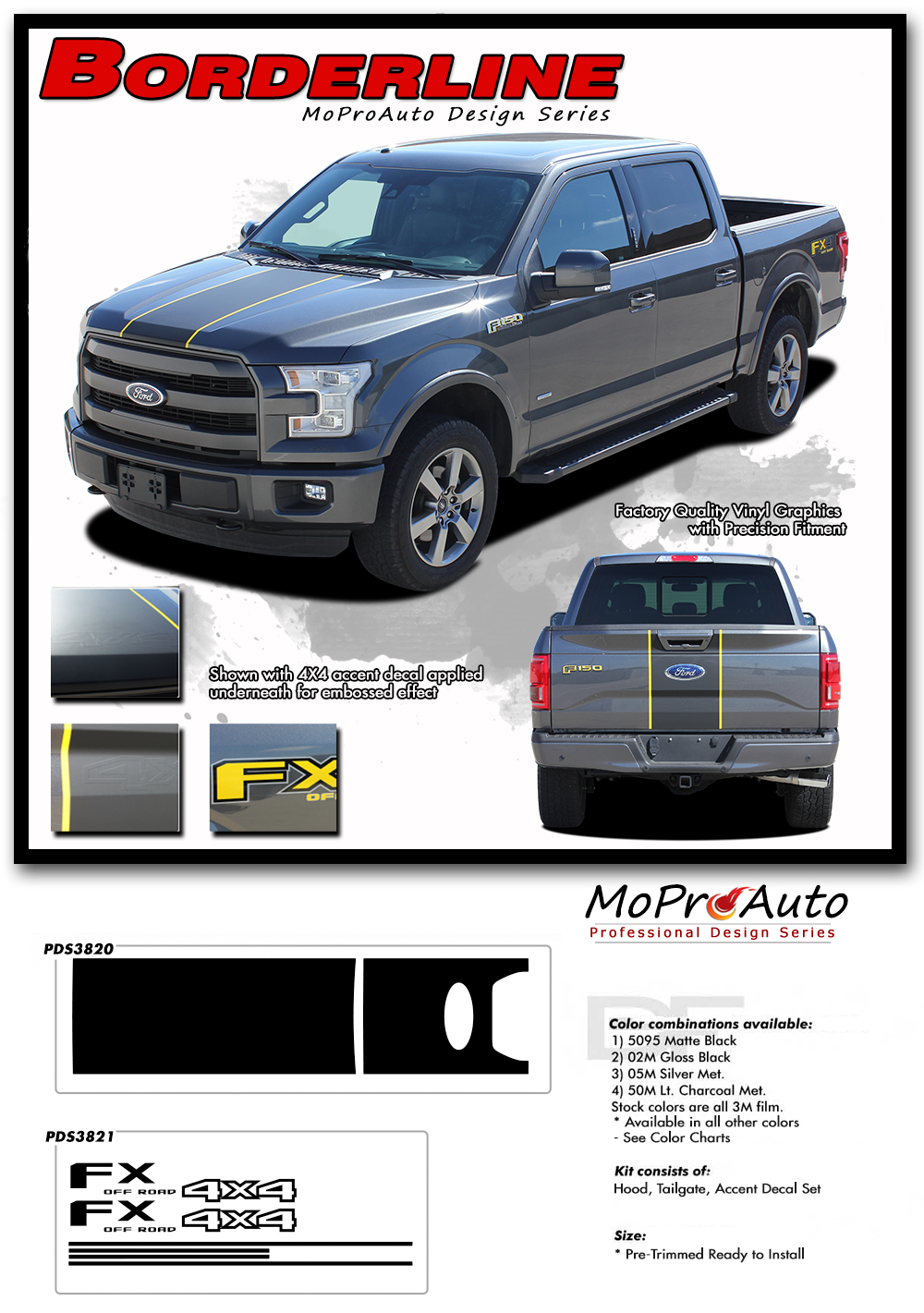 Ford F-Series F-150 BORDERLINE MoProAuto Pro Design Series Vinyl Graphics and Decals Kit