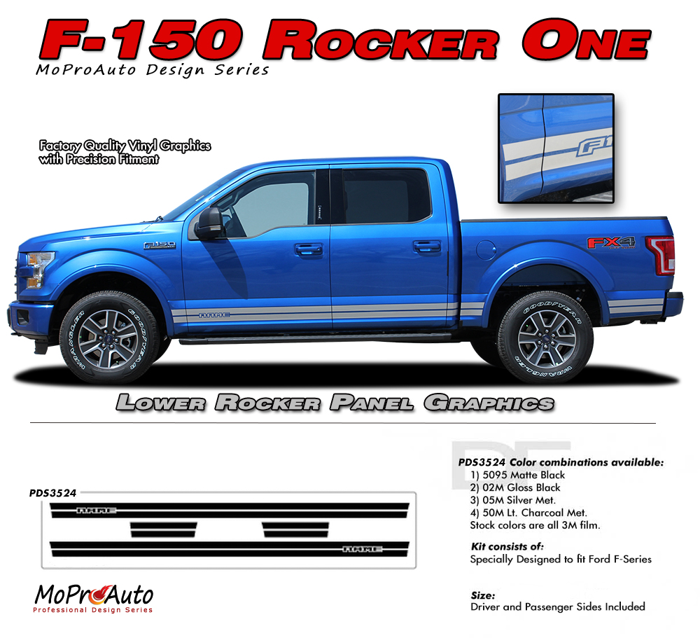 2015 2016 2017 2015 2016 2017 2018 Ford F-Series F-150 ROCKER ONE MoProAuto Pro Design Series Vinyl Graphics and Decals Kit