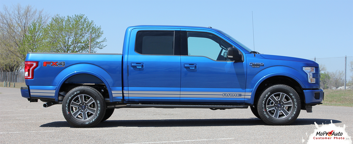 2015, 2016, 2017, 2018, 2019, 2020 Ford  F-150 ROCKER TWO Vinyl Graphics and Decals Kit - MoProAuto Pro Design Series
