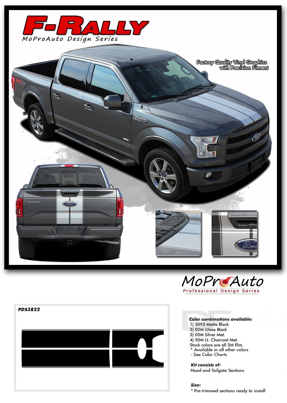 Ford F-Series F-150 F-RALLY - MoProAuto Pro Design Series Vinyl Graphics and Decals Kit