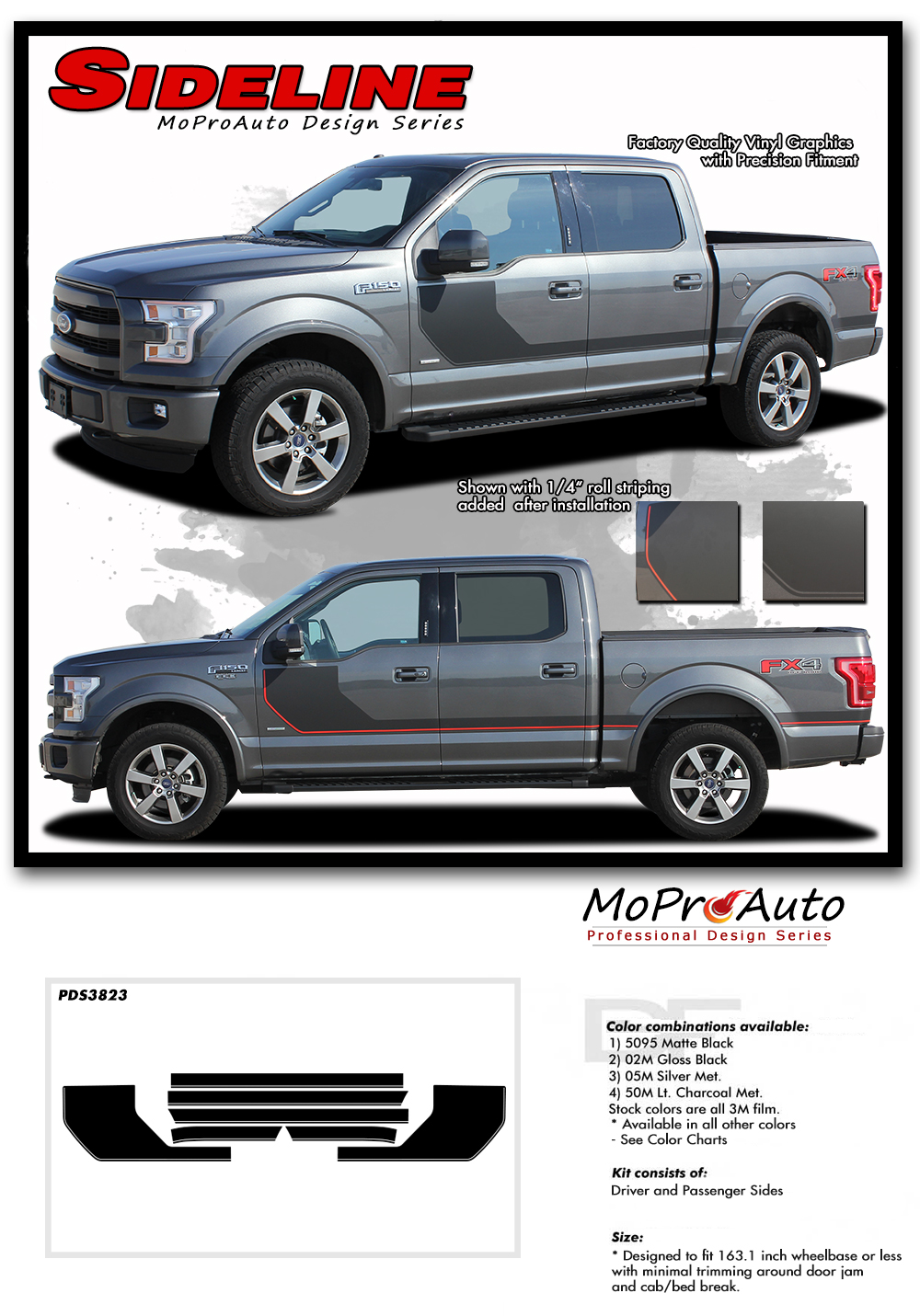SIDELINE Special Edition 2015, 2016, 2017, 2018, 2019, 2020 Ford F-Series F-150 Hockey Stick Appearance Package Vinyl Graphics and Decals Kit by MoProAuto Pro Design Series