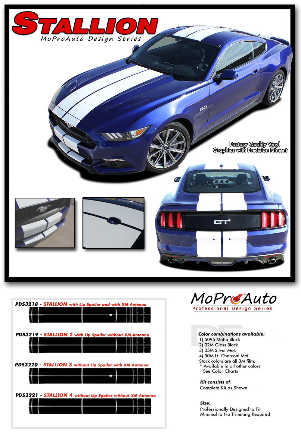 Stallion Ford Mustang Lemans Racing Stripes 10 Wide Rally Hood