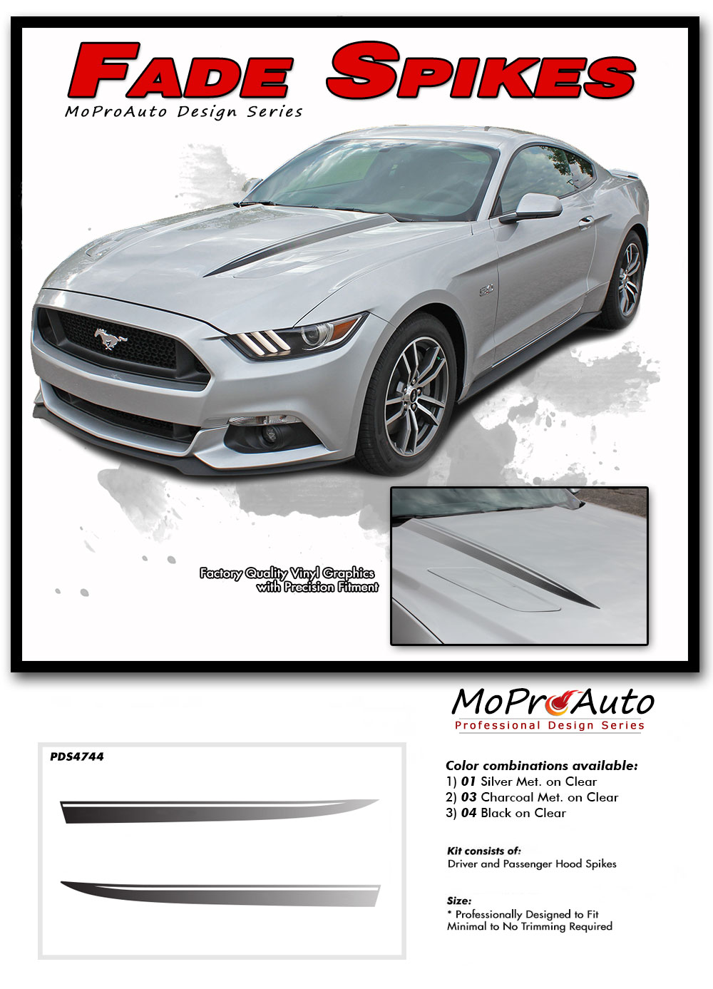 Ford Mustang Fade Rally Faded Hood Spears Spikes Stripes Ebony Racing Striping Silver Vinyl Graphics Decals