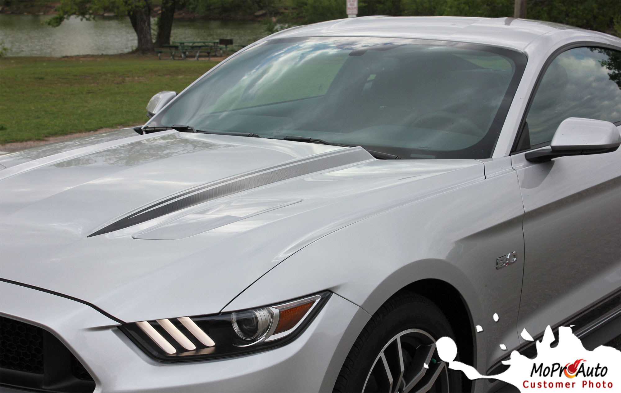 2015 2016 2017 Ford Mustang Fade Rally Faded Racing Hood Spears Stripes Ebony Racing Striping Silver Vinyl Graphics Decals