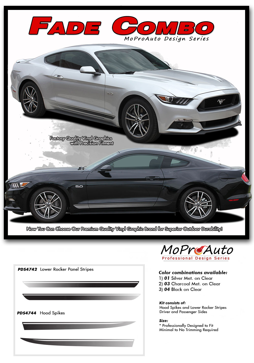 Ford Mustang Fade Rally Faded Rocker Hood Stripes Ebony Racing Striping Silver Vinyl Graphics Decals