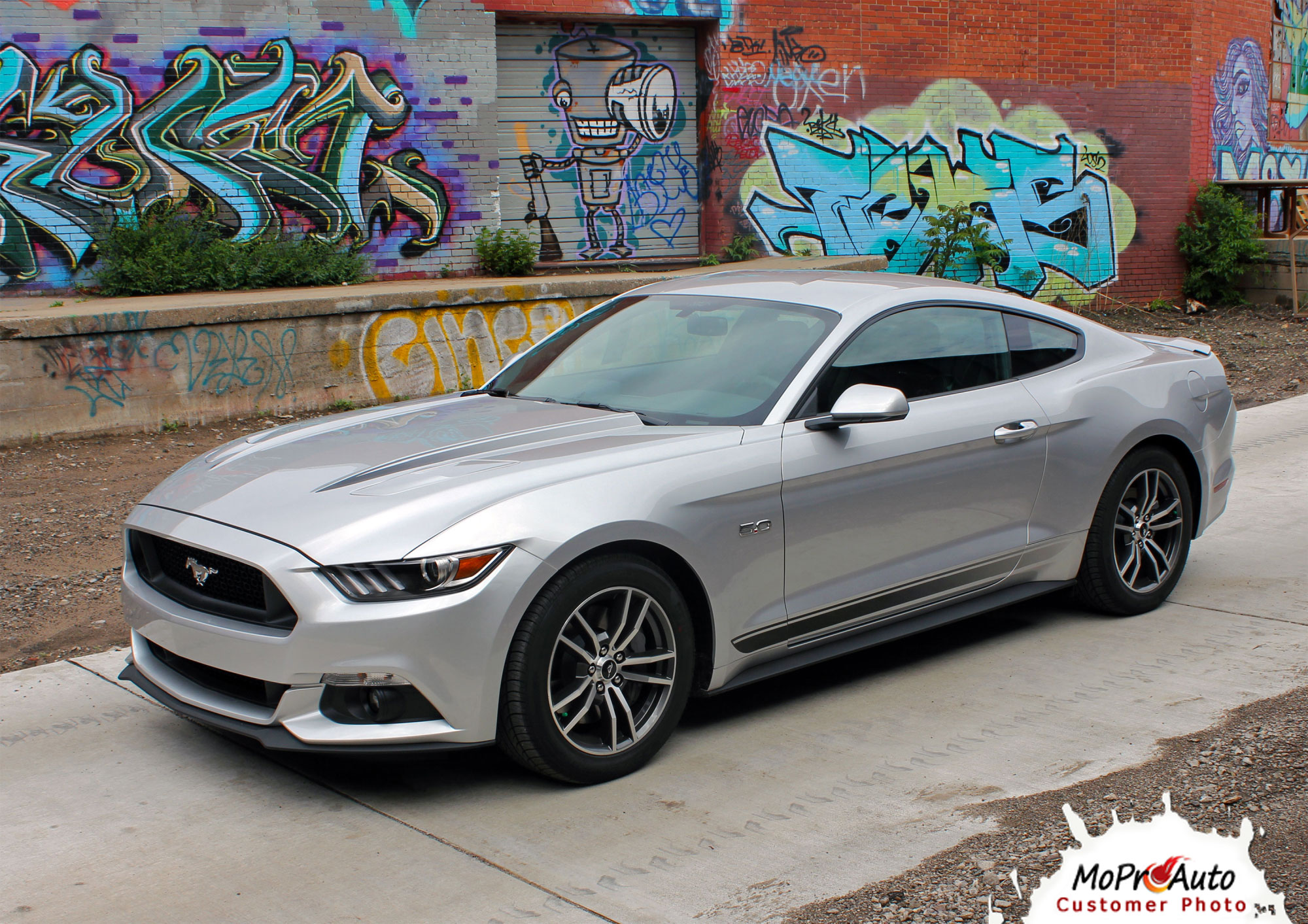 2015 2016 2017 Ford Mustang Fade Rally Faded Racing Stripes Ebony Racing Striping Silver Vinyl Graphics Decals