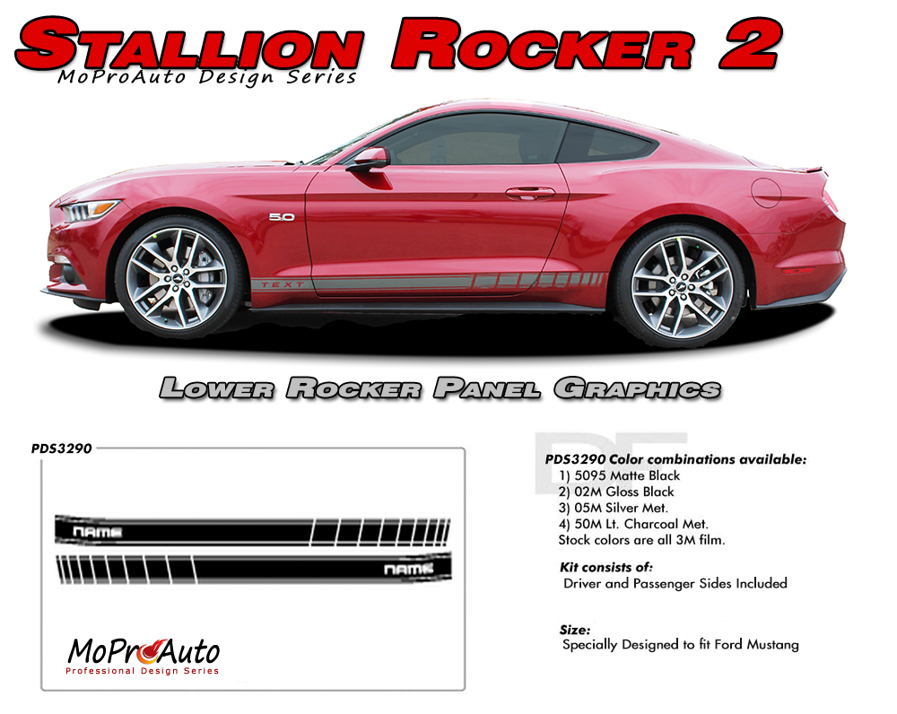 2015 2016 2017 STALLION ROCKER STROBE GT Ford Mustang - MoProAuto Pro Design Series Vinyl Graphics and Decals Kit