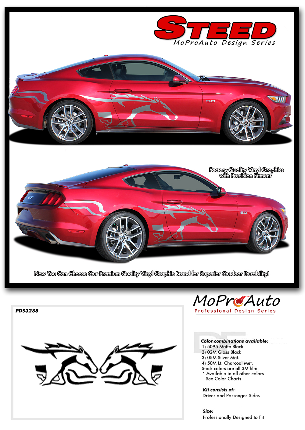 Steed Ford Mustang Pony Door Stripes Horse Decal Side Vinyl