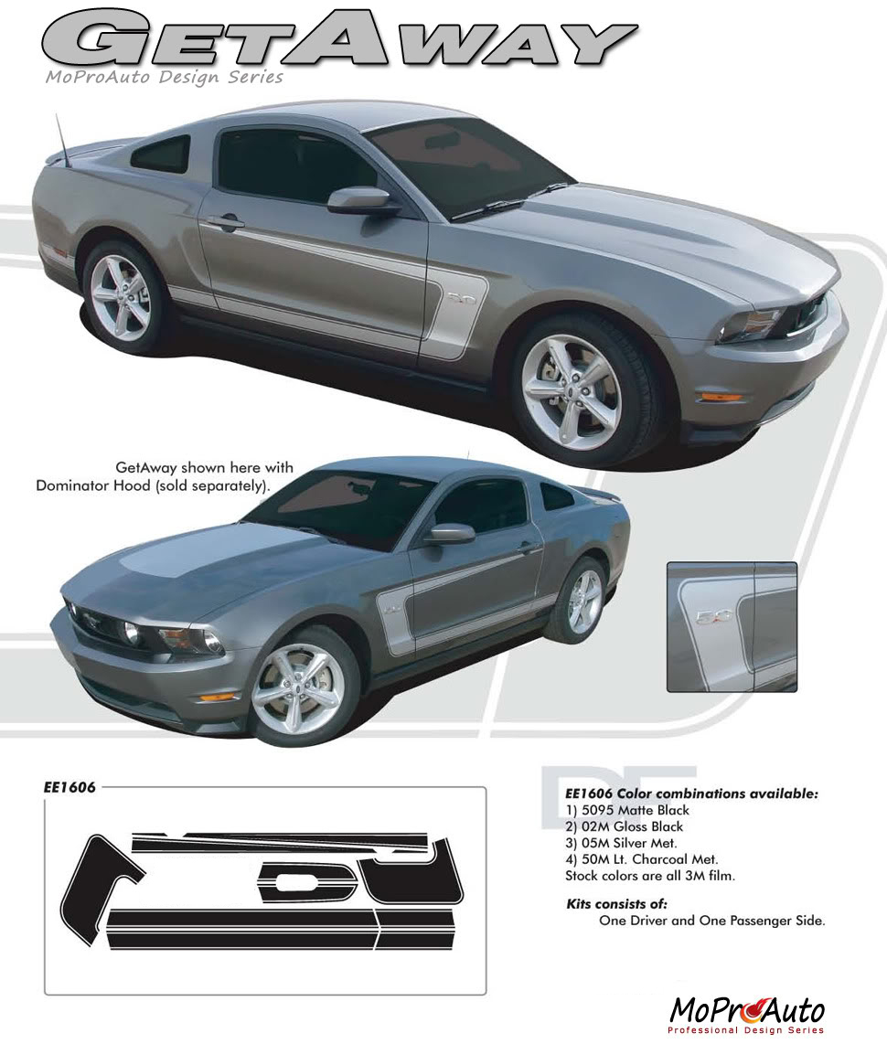GETAWAY Ford Mustang - MoProAuto Pro Design Series Vinyl Graphics, Stripes and Decals Kit