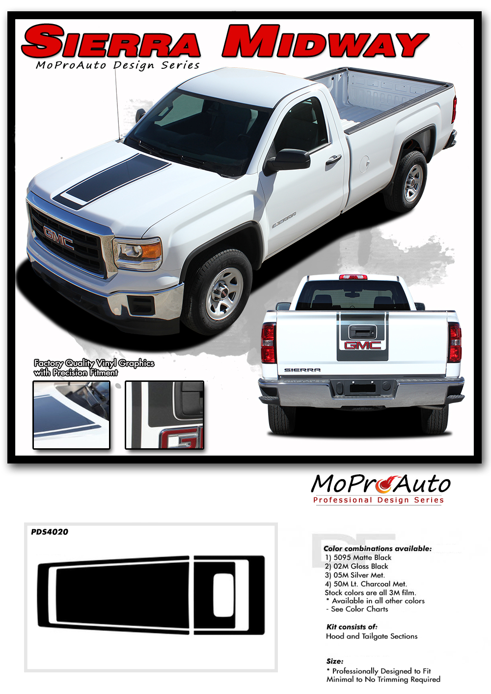 2016 2017 2018 GMC SIERRA - MoProAuto Pro Design Series Vinyl Graphics, Stripes and Decals Kit