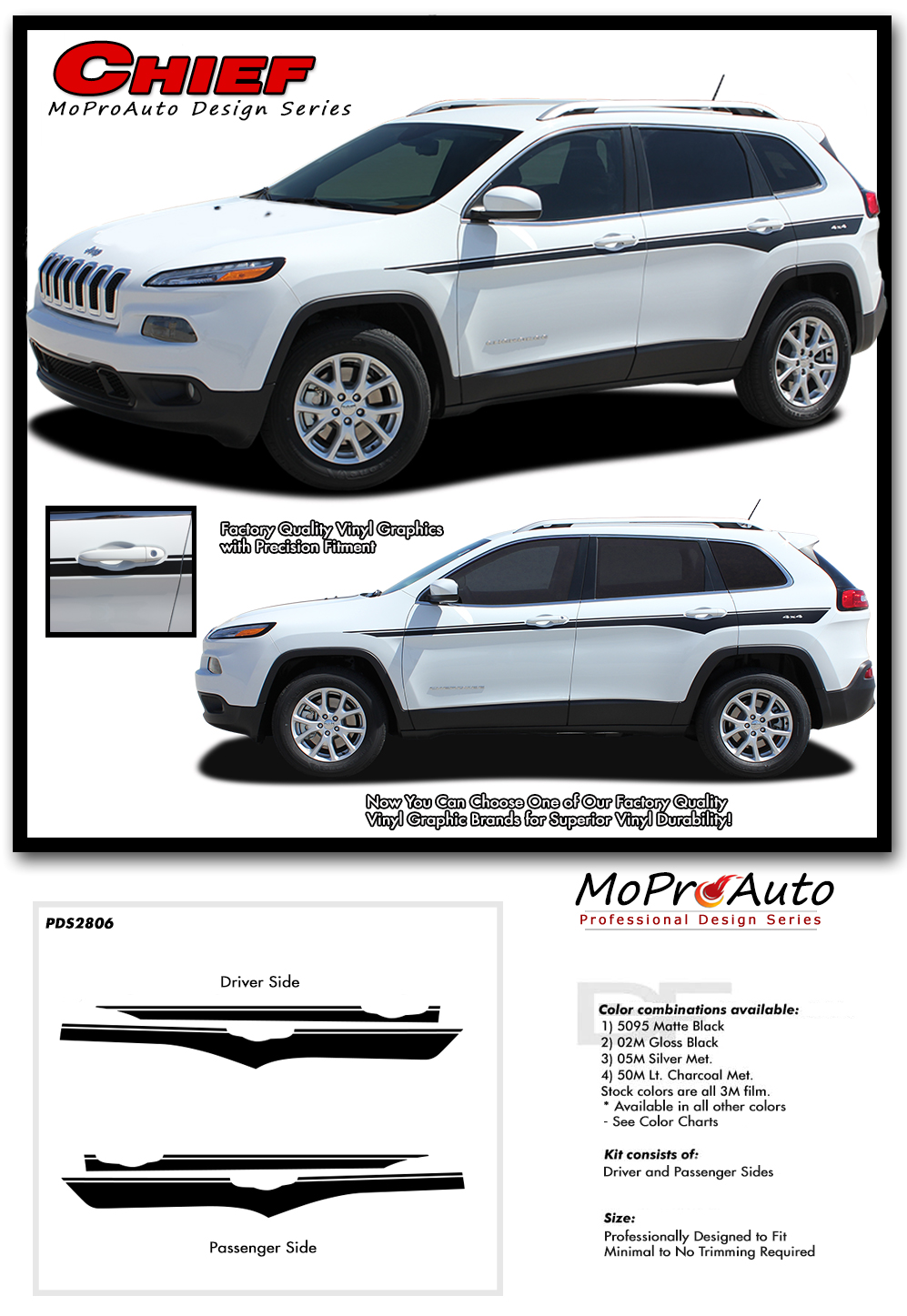 2013, 2014, 2015, 2016, 2017, 2018, 2019, 2020 Chief Jeep Cherokee - MoProAuto Pro Design Series Vinyl Graphics, Stripes and Decals Kit