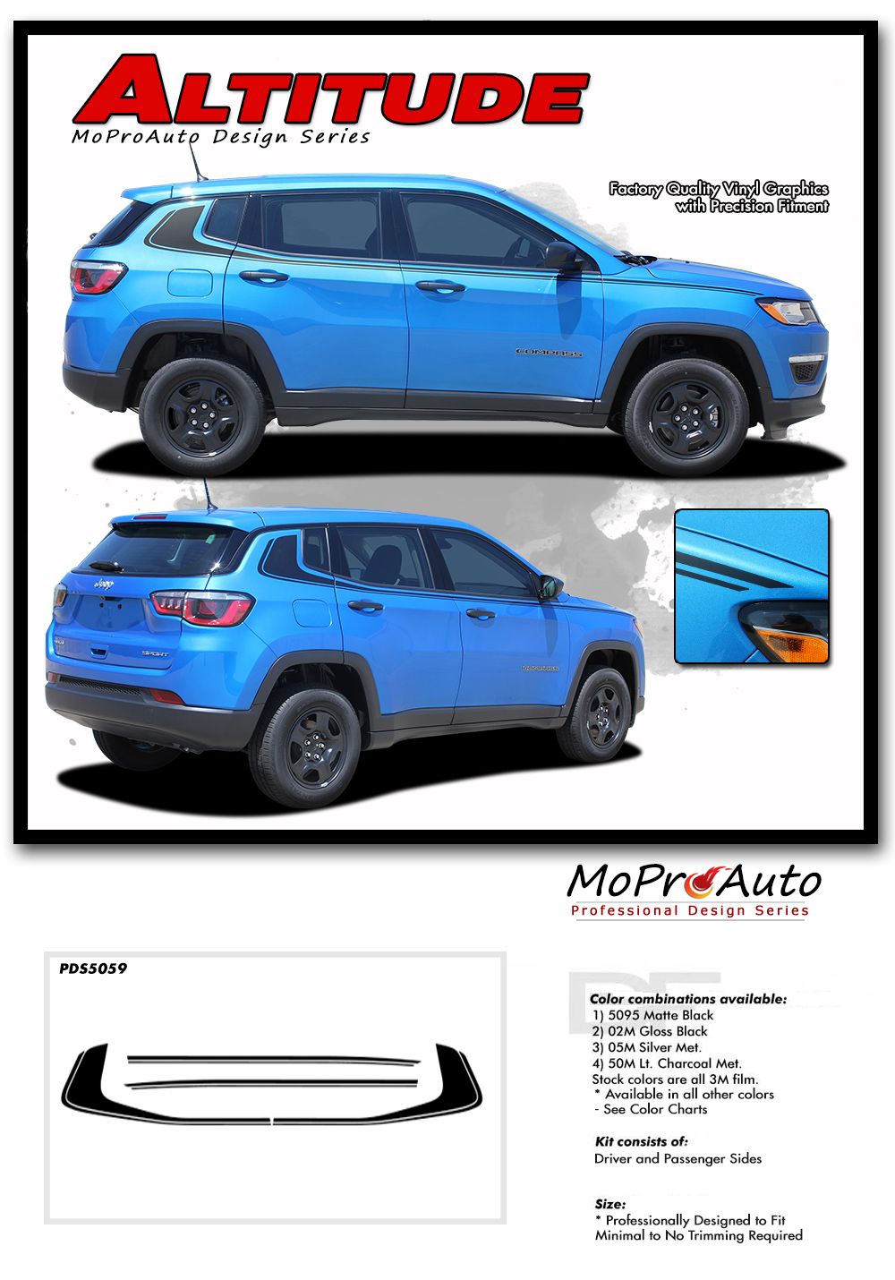 2017, 2018, 2019, 2020 Jeep Compass Vinyl Graphics Decals Stripes - MoProAuto Pro Design Series - Altitude
