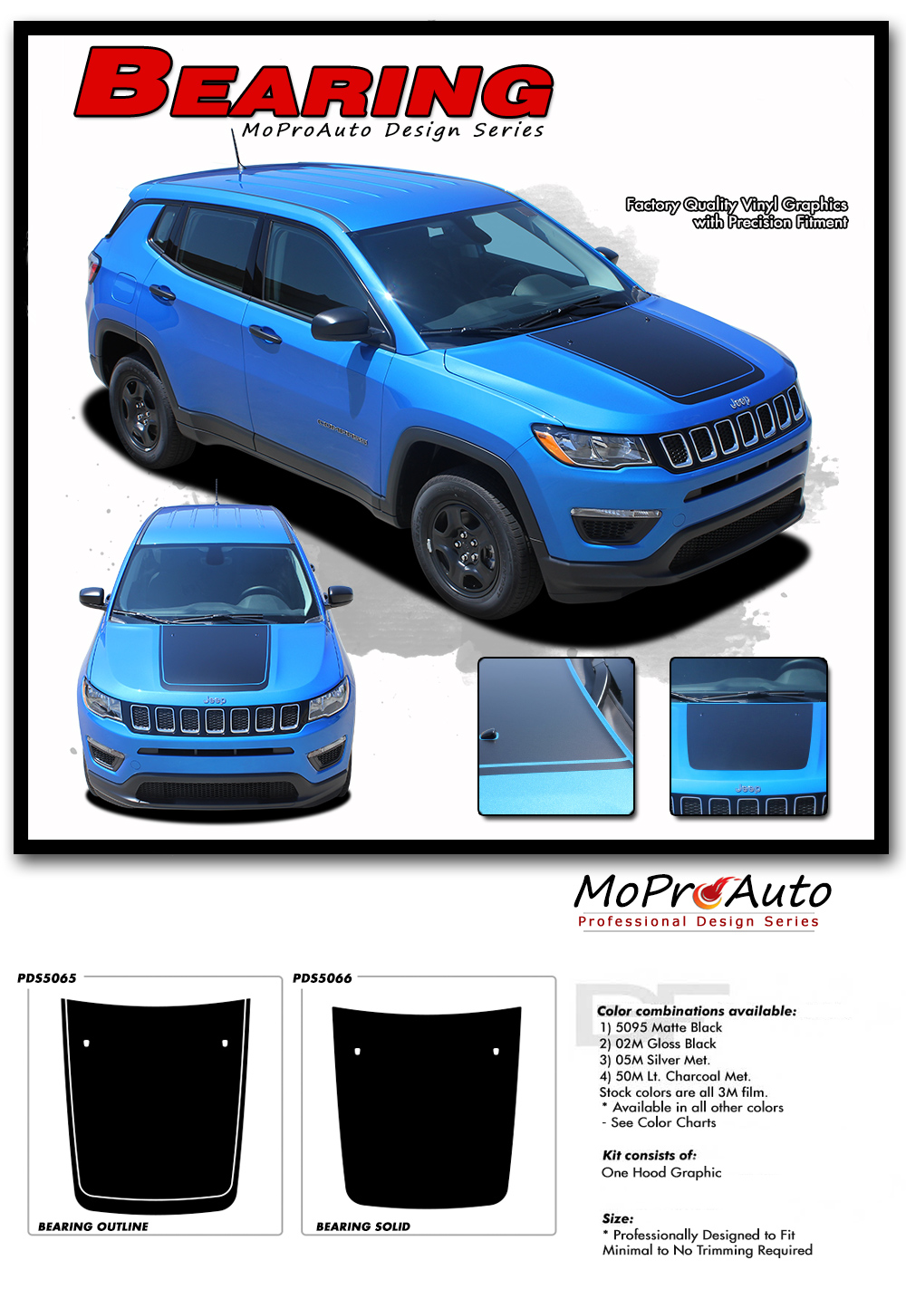 2017, 2018, 2019, 2020 Jeep Compass Vinyl Graphics Decals Stripes - MoProAuto Pro Design Series - Bearing