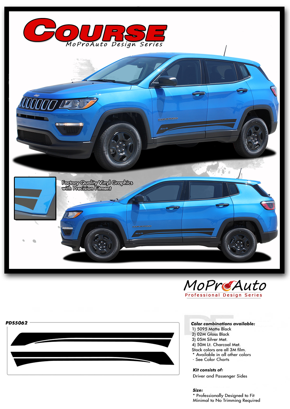 2017, 2018, 2019, 2020 Jeep Compass Vinyl Graphics Decals Stripes - MoProAuto Pro Design Series - Course