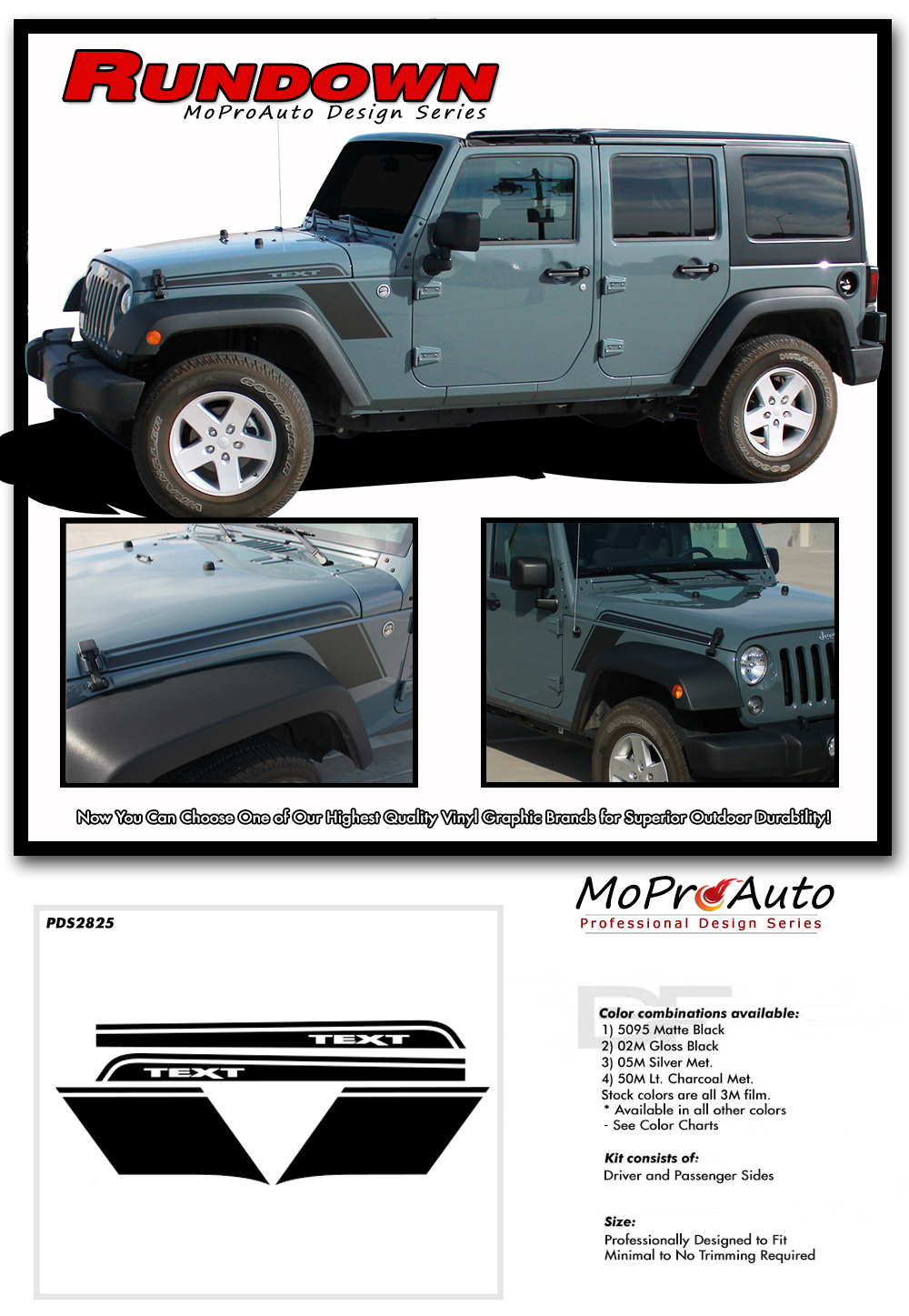 2009-2017 Jeep Wrangler - MoProAuto Pro Design Series Vinyl Graphics, Stripes and Decals Kit