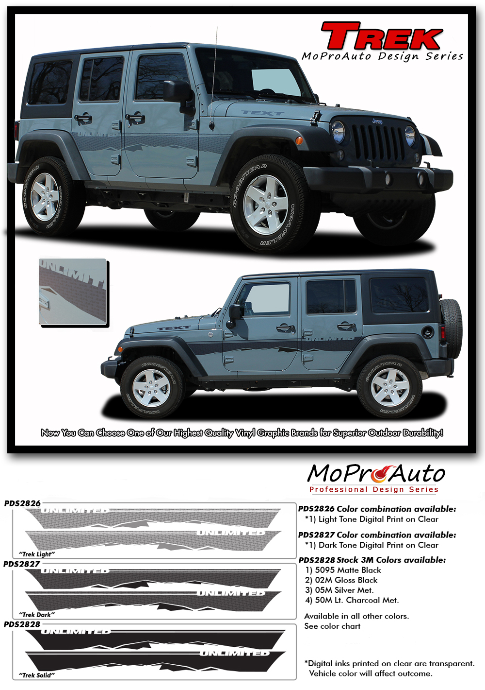 2007-2017 Jeep Wrangler - MoProAuto Pro Design Series Vinyl Graphics, Stripes and Decals Kit