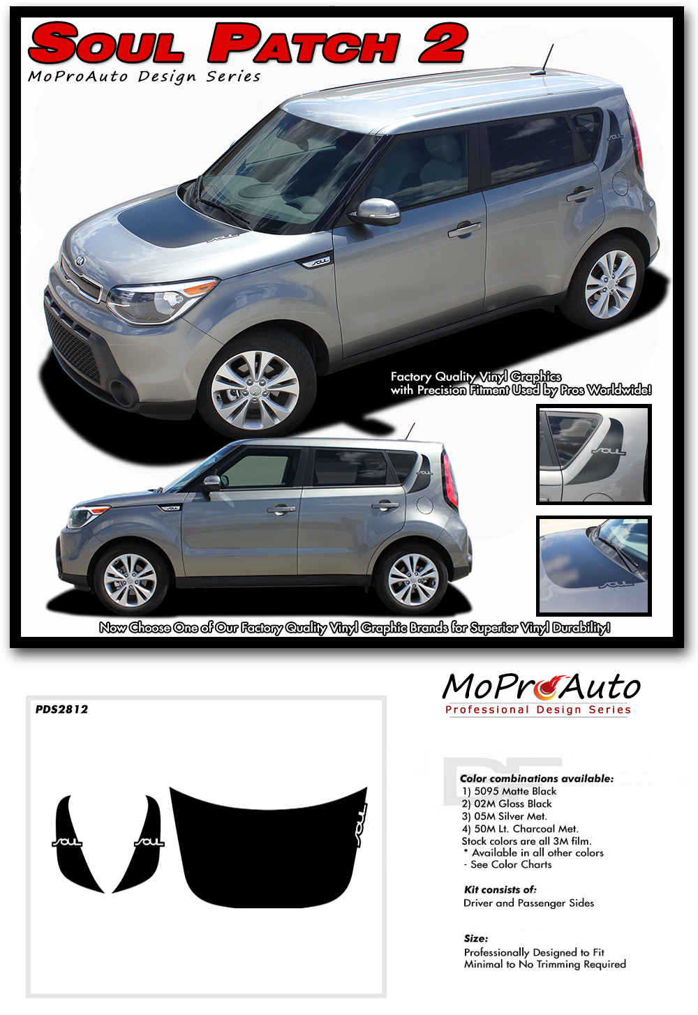 SOUL PATCH 2 : Vinyl Graphics Kit Engineered to fit 2014 2015 2016 2017 Kia Soul