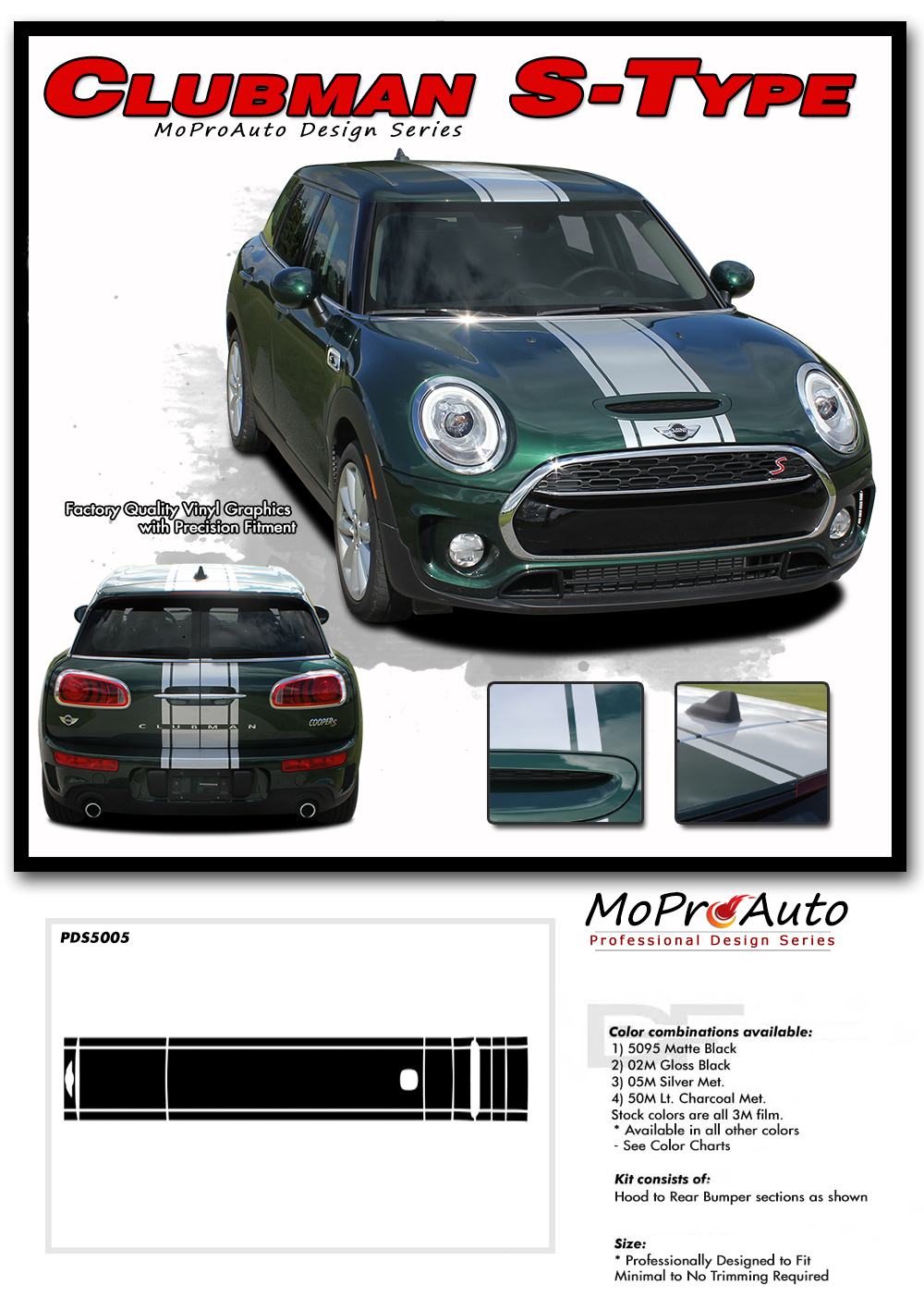 Mini Cooper CLUBMAN S-TYPE HOOD STRIPE Vinyl Graphics, Stripes and Decals Set