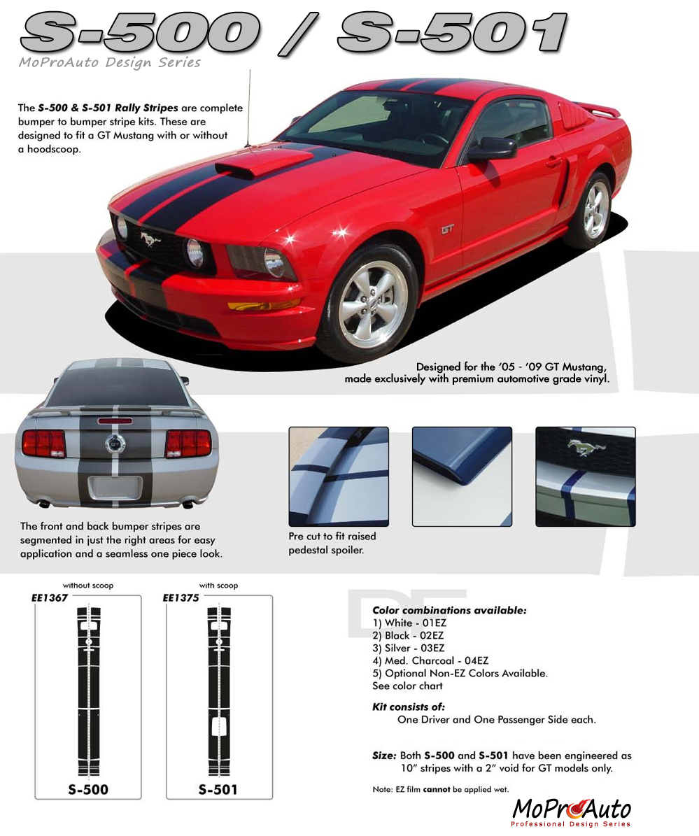 S500 GT Ford Mustang - MoProAuto Pro Design Series Vinyl Graphics and Decals Kit