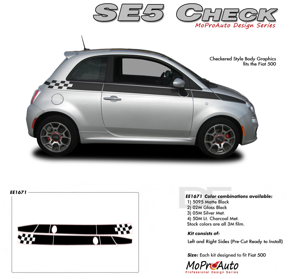 Fiat 500 Vinyl Graphics Stripes And Decals Set