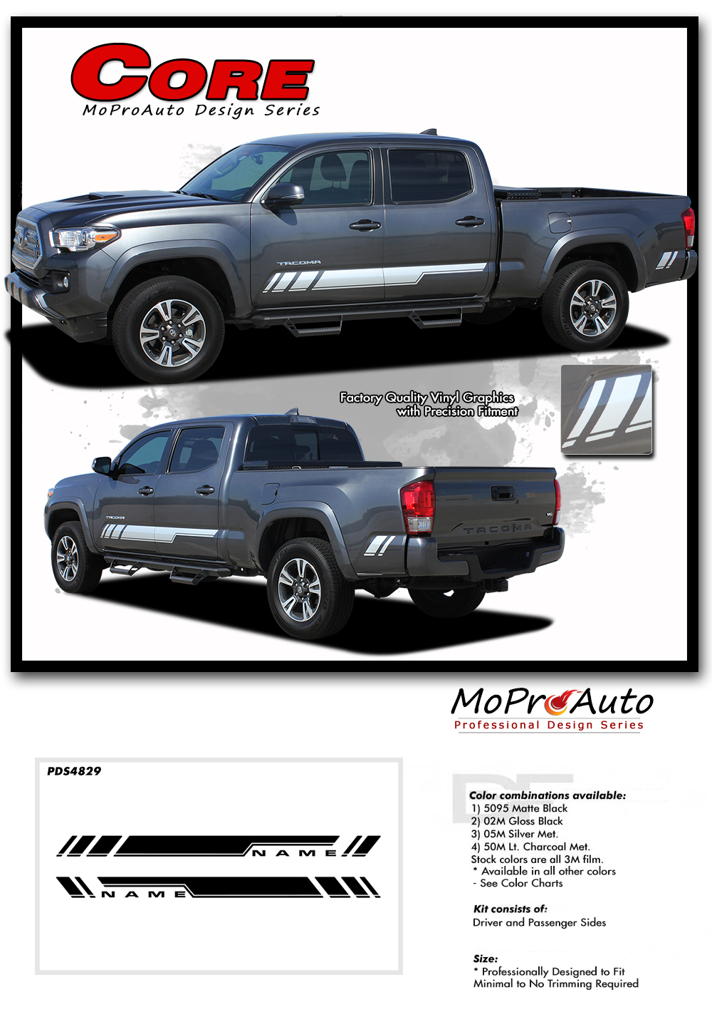 2015 2016 2017 2018 CORE : Toyota Tacoma Truck TRD Sport Pro - MoProAuto Pro Design Series Vinyl Graphics, Stripes and Decals Kit