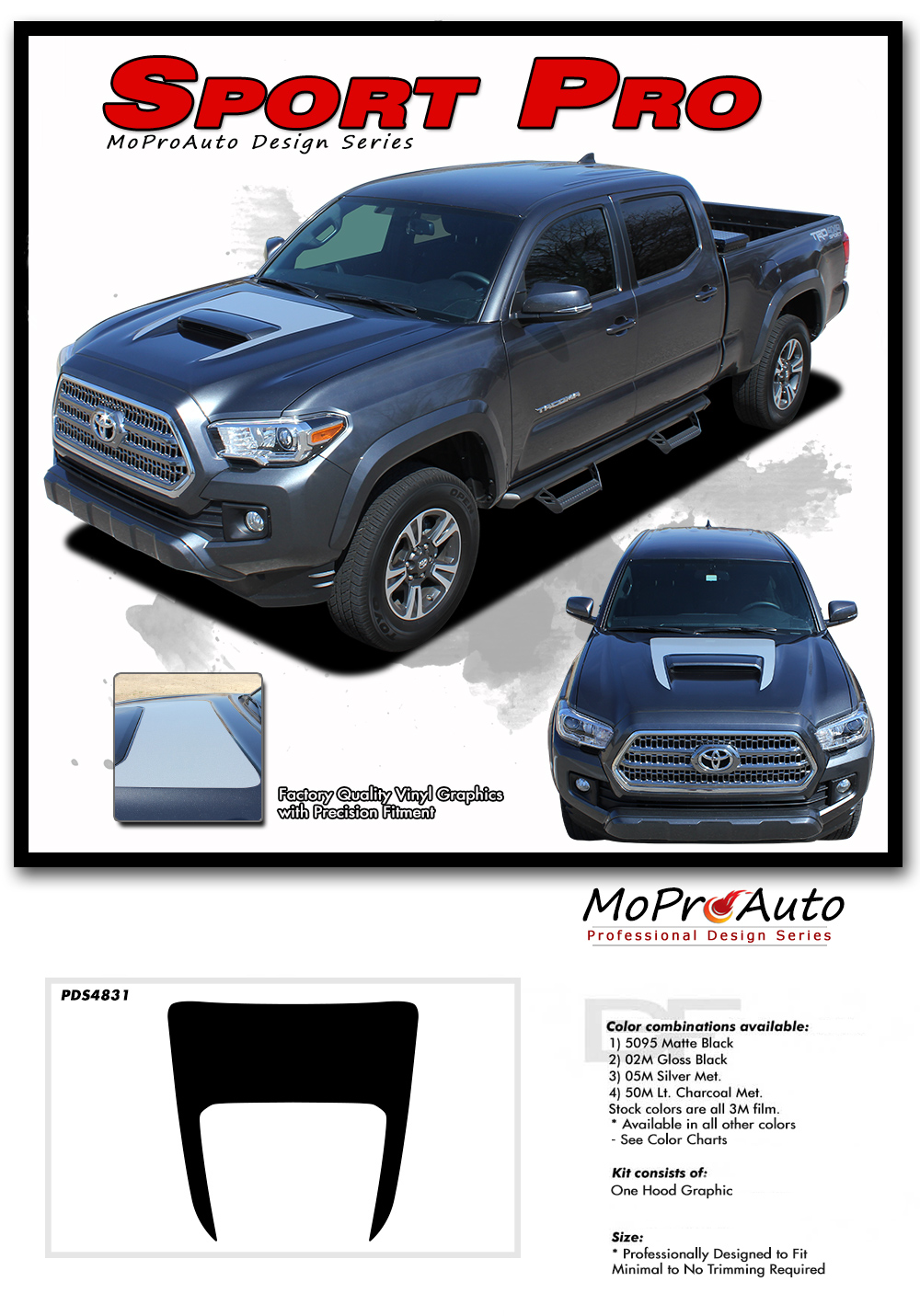 2015 2016 2017 2018 SPORT HOOD : Toyota Tacoma Truck TRD Sport Pro - MoProAuto Pro Design Series Vinyl Graphics, Stripes and Decals Kit