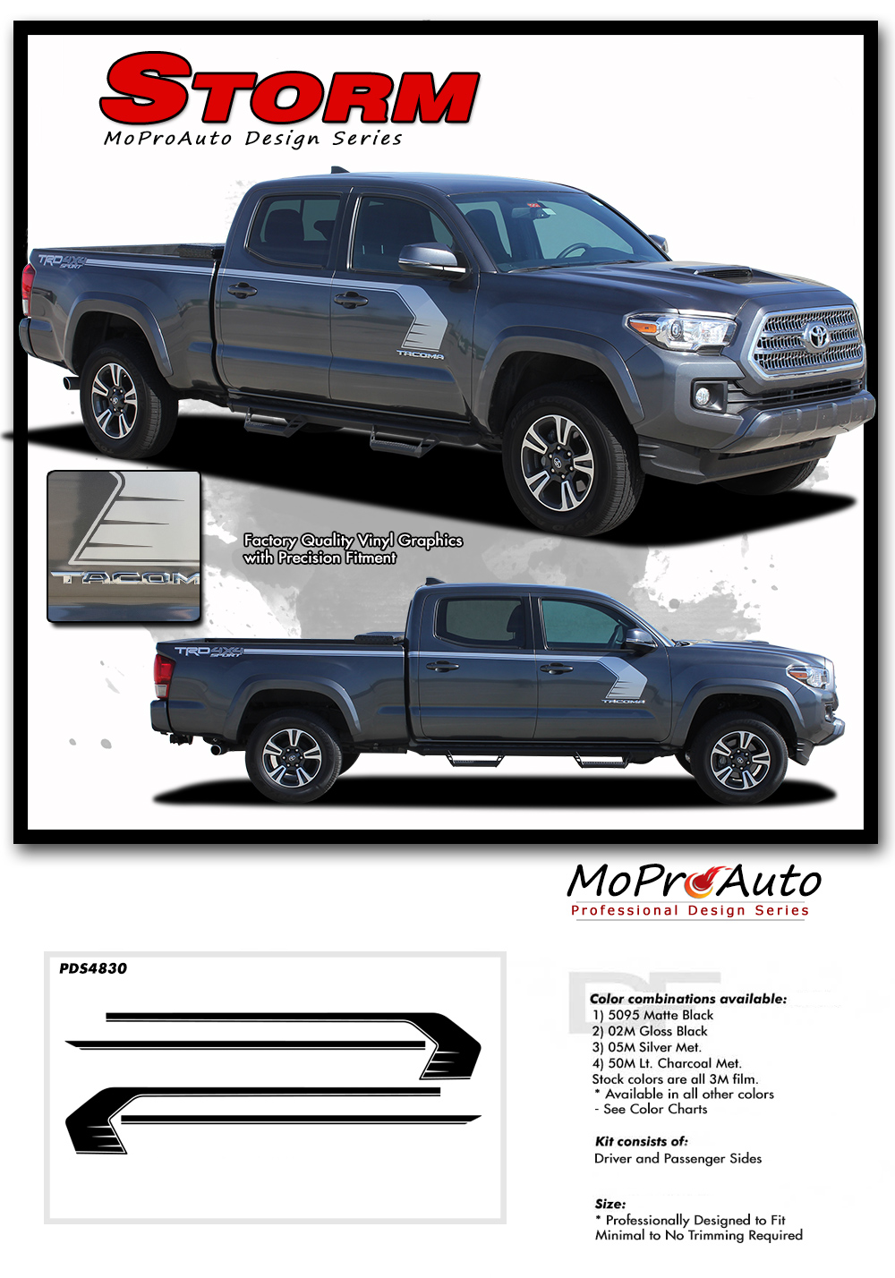 2015 2016 2017 2018 STORM : Toyota Tacoma Truck TRD Sport Pro - MoProAuto Pro Design Series Vinyl Graphics, Stripes and Decals Kit
