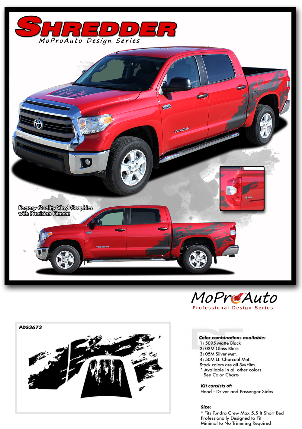 SHREDDER TOYOTA TUNDRA -  Vinyl Graphics Stripes and Decals Kit