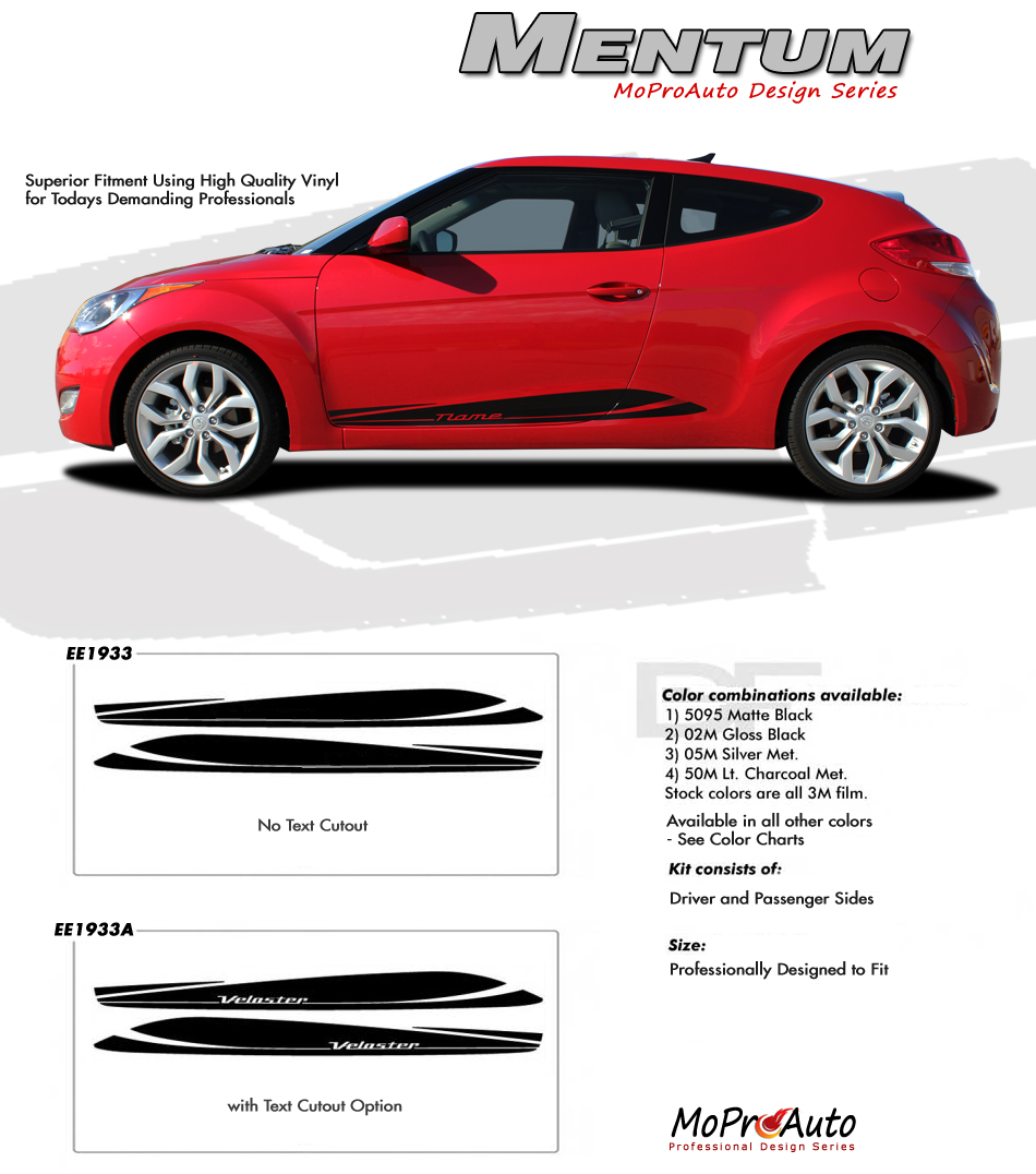 : Vinyl Graphic Stripes Decal Kit 2011 2012 2013 2014 2015 2016 2017 2018 Hyundai Veloster - Vinyl Graphics, Stripes and Decals Kit by MoProAuto