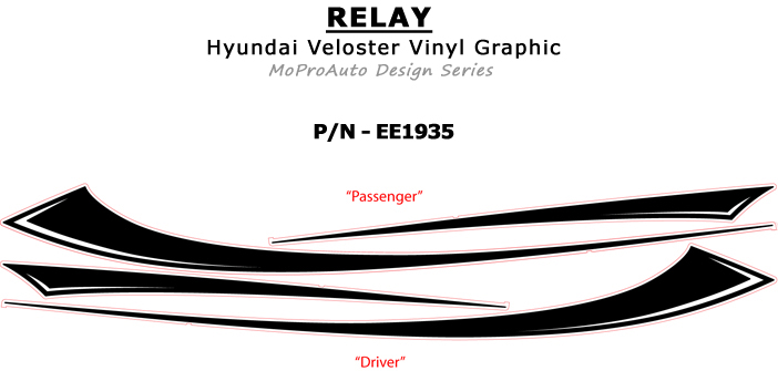 Relay Vinyl Graphics Kit Engineered to fit the 2011 2012 2013 2014 2015 2016 2017 Hyundai Veloster - Vinyl Graphics, Stripes and Decals Kit by MoProAuto