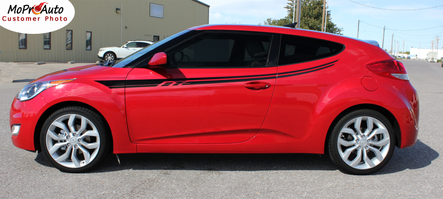 Rush Vinyl Graphics Kit Engineered to fit the 2011 2012 2013 2014 2015 2016 2017 2018 Hyundai Veloster - Vinyl Graphics, Stripes and Decals Kit by MoProAuto